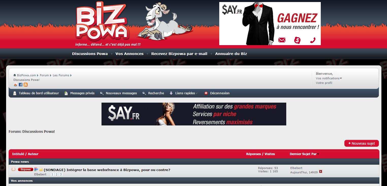 Bizpowa, le forum le plus connu des pros du porno sur le web. Même une ex gloire comme JBR vient y chercher des tuyaux.