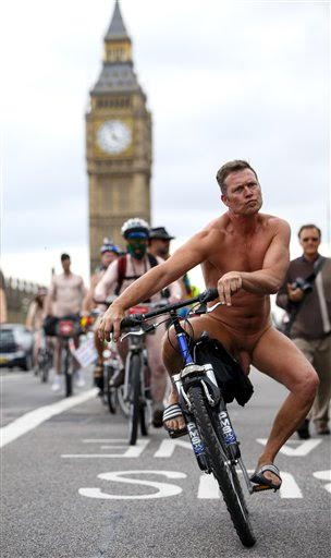 Nude protesters crossing Westminster Bridge World Naked Bike Ride, London, Britain - 13 Jun 2015  (Rex Features via AP Images)