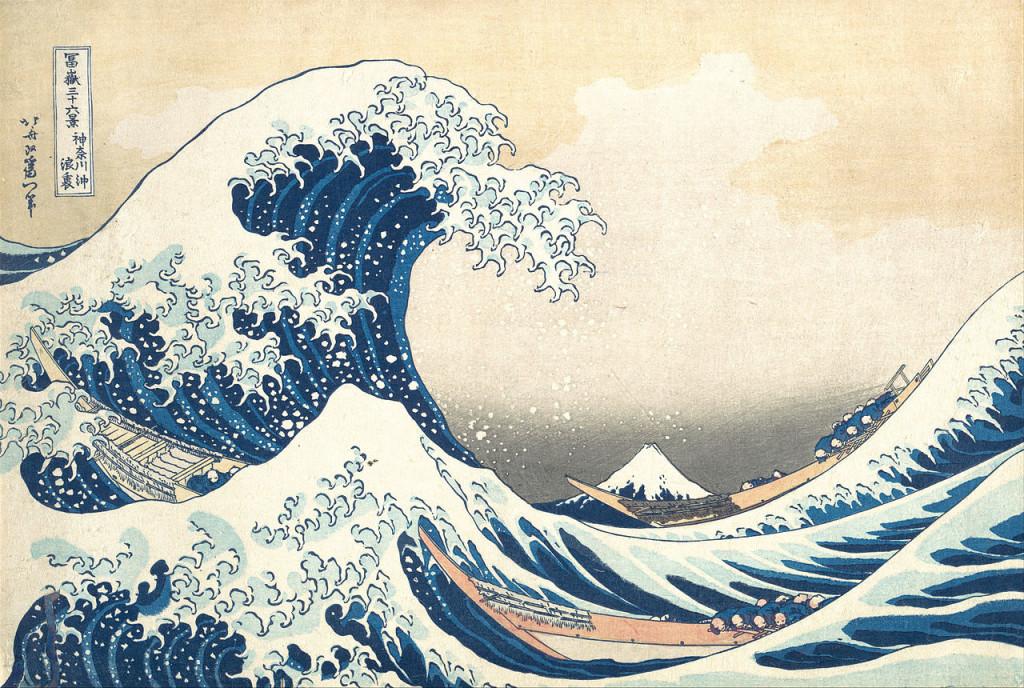 Hokusai, La Grande vague de Kanagawa, 1831, Gravure sur bois, 25,7 x 37,9 cm, MET