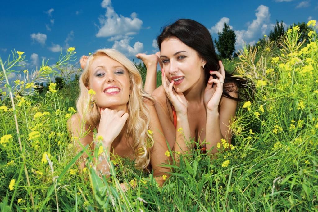 brunette-blonde-field-sexy-font-b-girls-b-font-beautiful-font-b-nature-b-font-grass